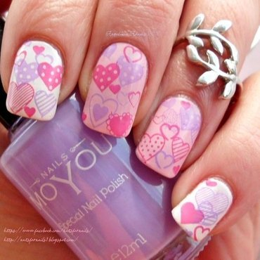 Cute Valentine Hearts nail art by Angelique Adams