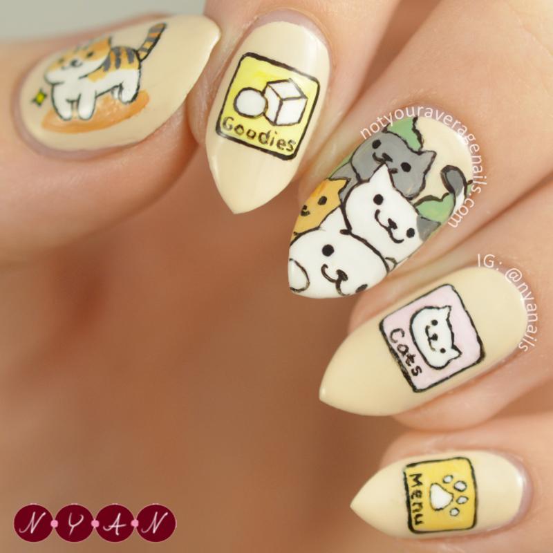 Neko Atsume nail art by Becca (nyanails)