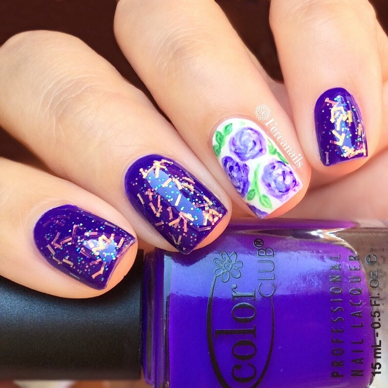Glitter and flowers nails nail art by Fercanails