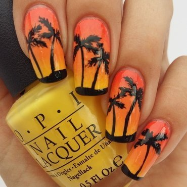 Tropical Sunset Gradient  nail art by prettylittlepolish