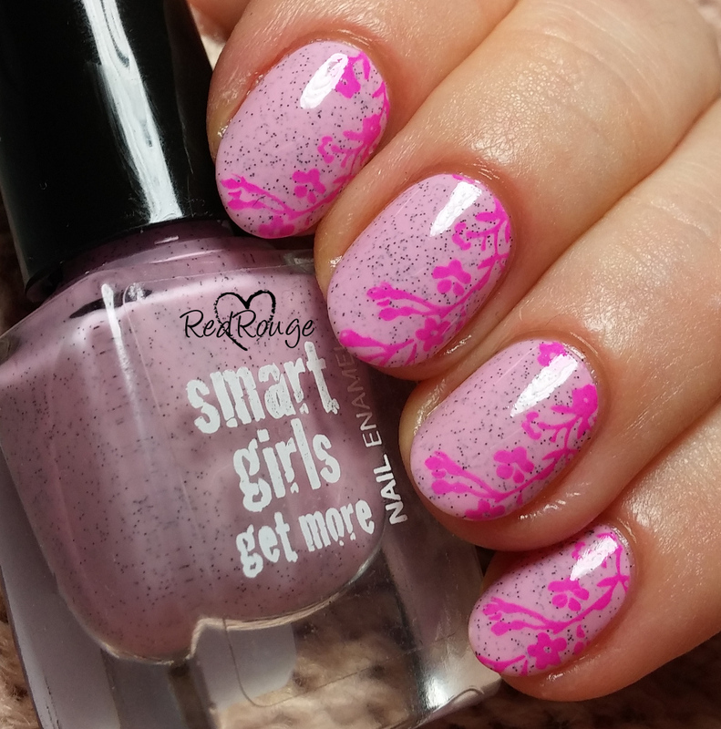 Pink flower vines nail art by RedRouge