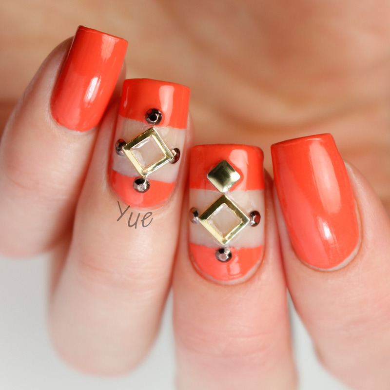 Negative Space And Rivets nail art by Yue