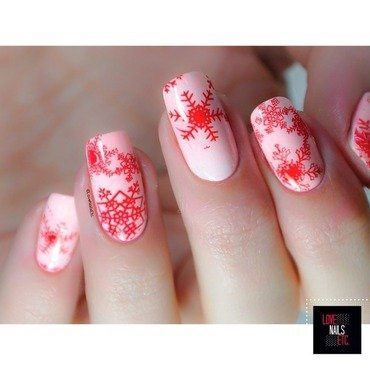 Red Snowflakes nail art by Love Nails Etc