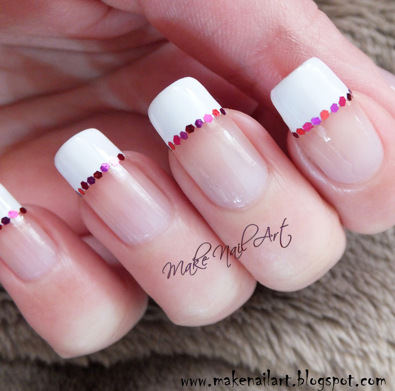 Valentine\'s Day French Manicure With Glitter Placements nail art by ...