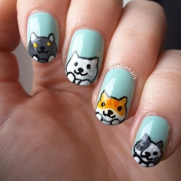 Neko Atsume Nail Art nail art by Tallie