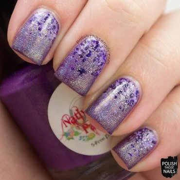 Purple holo polka dot gradient nail art 4 thumb370f