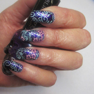 Purple BlackHeart nail art by NinaB