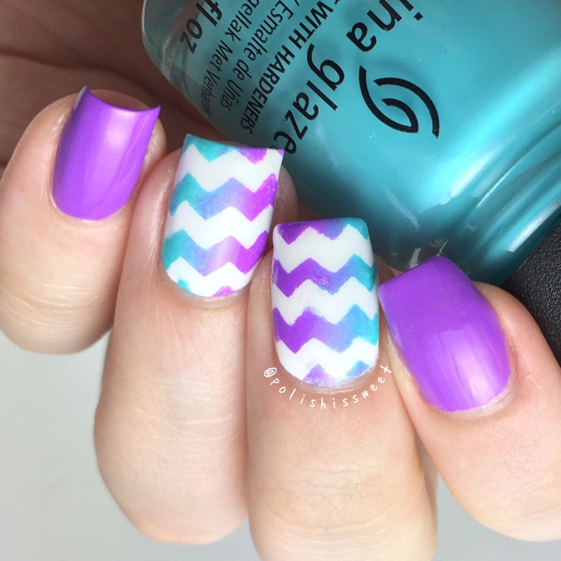 Vertical Gradient with Chevrons nail art by PolishIsSweet