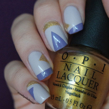 Geometric gold and lilac nail art nail art by Jolin