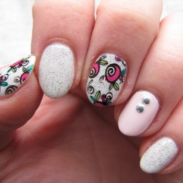 Pink roses nail art by Nail Crazinesss