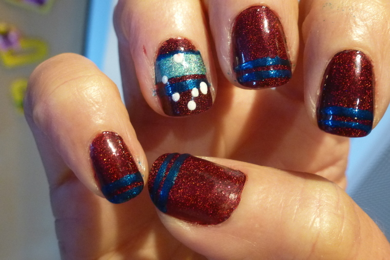Another Blue red NA nail art by Barbouilleuse