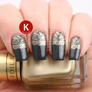 Grey with gold lace half moon stamping nail art by Claire Kerr