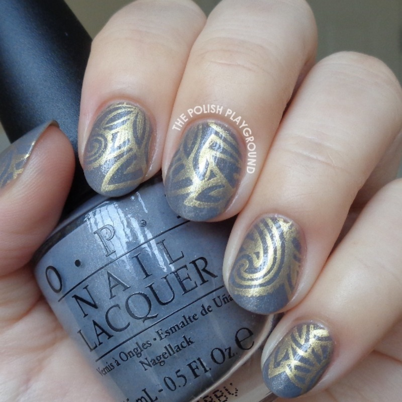 Blue Grey and Gold Stamping nail art by Lisa N