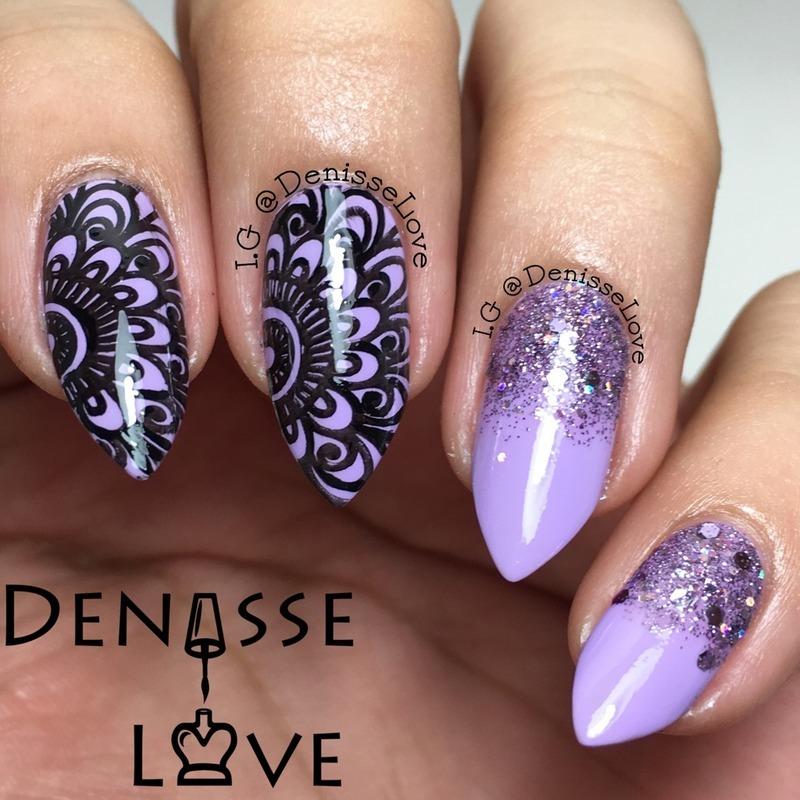 Purple Sparks nail art by Denisse Love