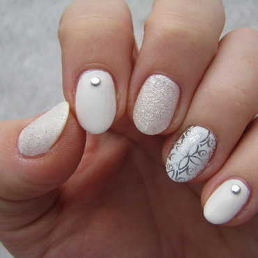 All in white nail art by Nail Crazinesss