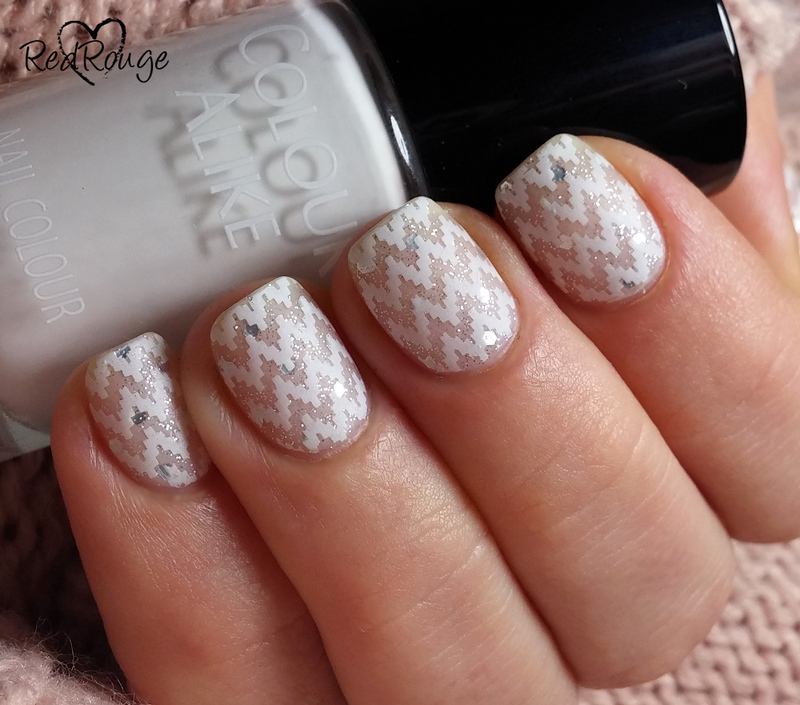 White sweater with silver thread nail art by RedRouge