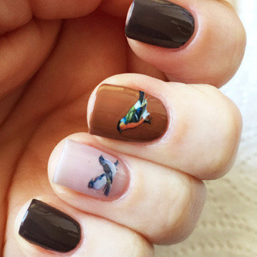 Winter birds nail art by vorobeikacz