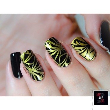Glossy & Gold nail art by Love Nails Etc