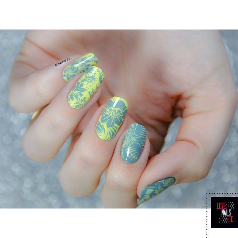 Gray & Yellow nail art by Love Nails Etc