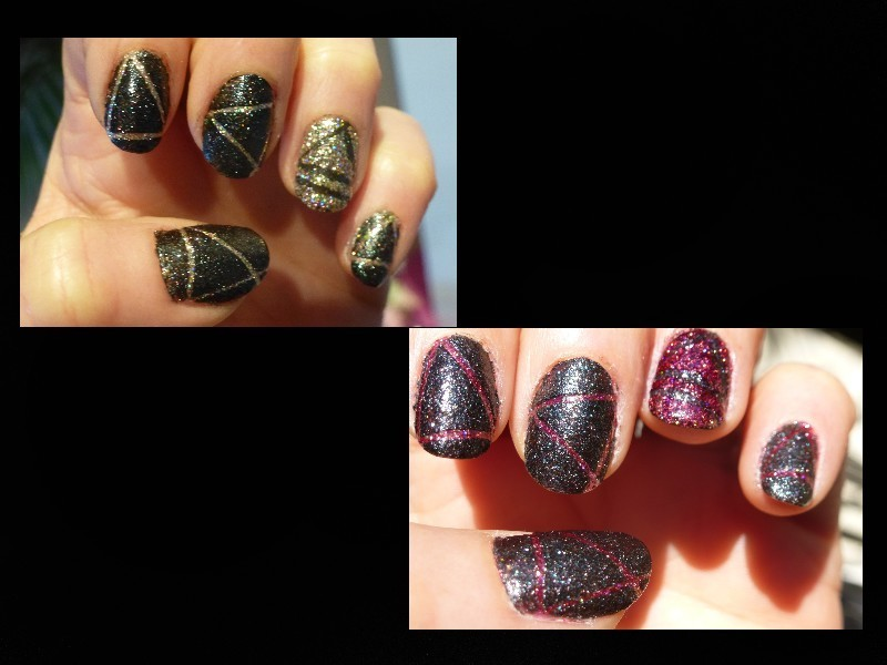 Black Gold nail art by Barbouilleuse