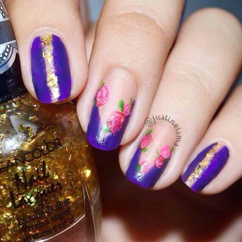 Gold and Indigo nail art by ℐustine - Nailpolis: Museum of Nail Art