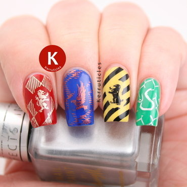 Harry Potter / Hogwarts' houses skittle nail art by Claire Kerr