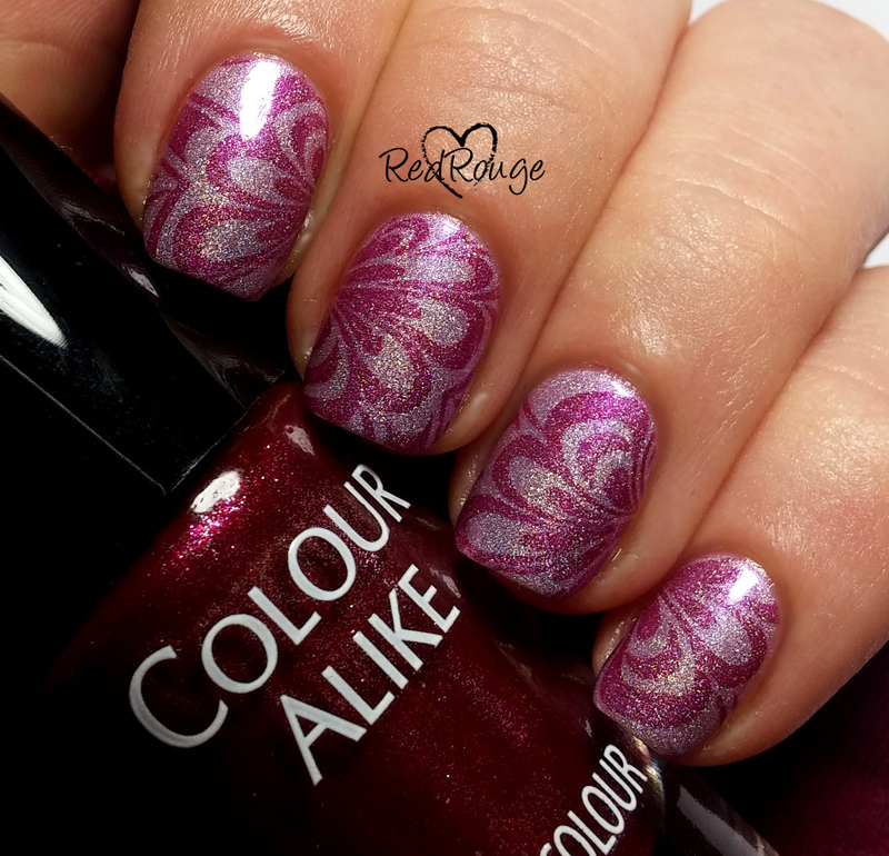 """Holo """"water marble"""" nail art by RedRouge"""