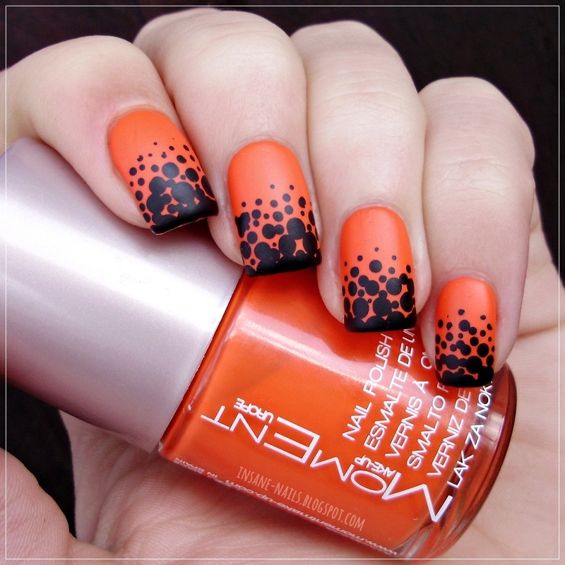 Orange matte nails with black dots nail art by Sanela - Orange Matte Nails With Black Dots Nail Art By Sanela - Nailpolis