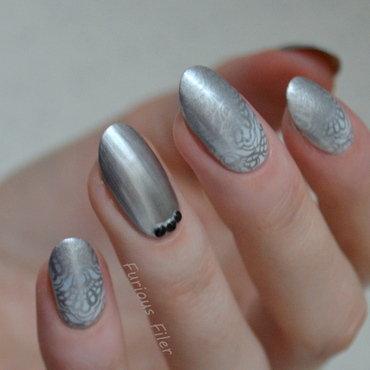Metallic Lace nail art by Furious Filer