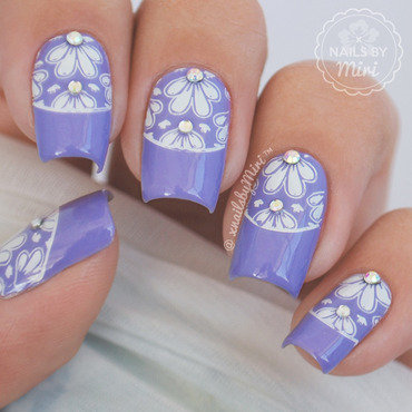 Purple Flower Stamp nail art by xNailsByMiri
