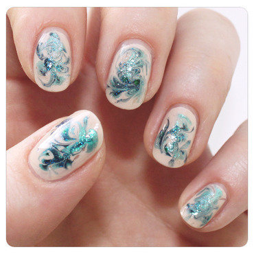 Turquoise swirls nail art by KataTM