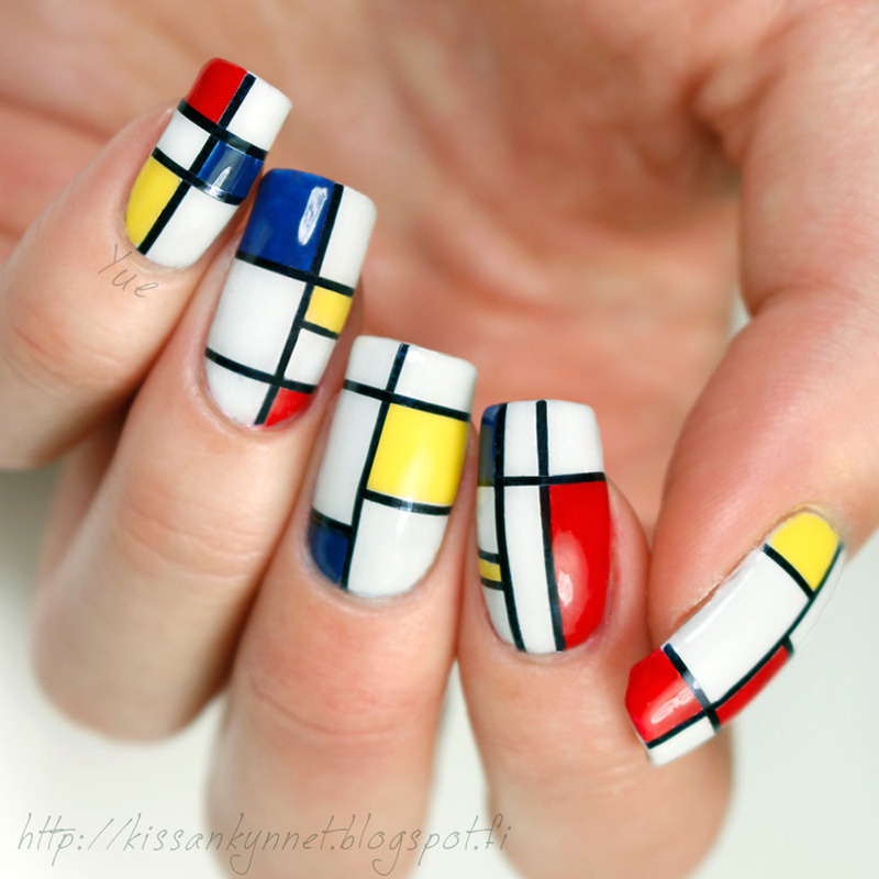 Neoplasticism nail art by Yue