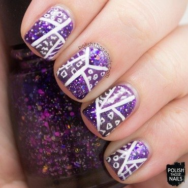 Purple glitter pattern patchwork nail art 4 thumb370f