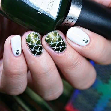 Holographic Fish Scales nail art by Romana