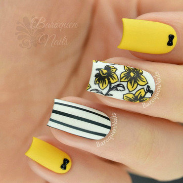 Hello Yellow nail art by BaroquenNails