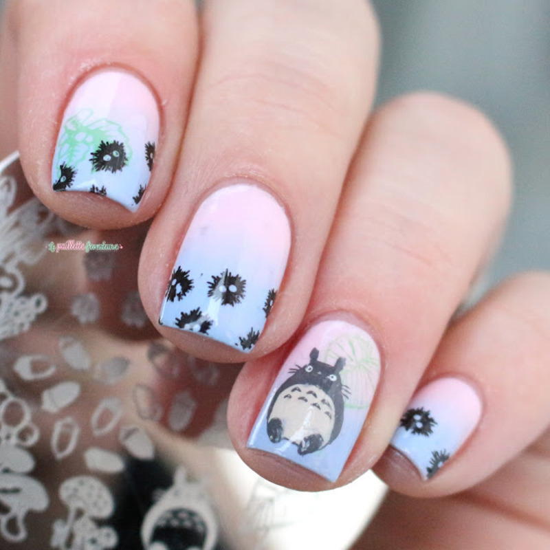 Totoro Nails Nail Art By Nathalie Lapaillettefrondeuse