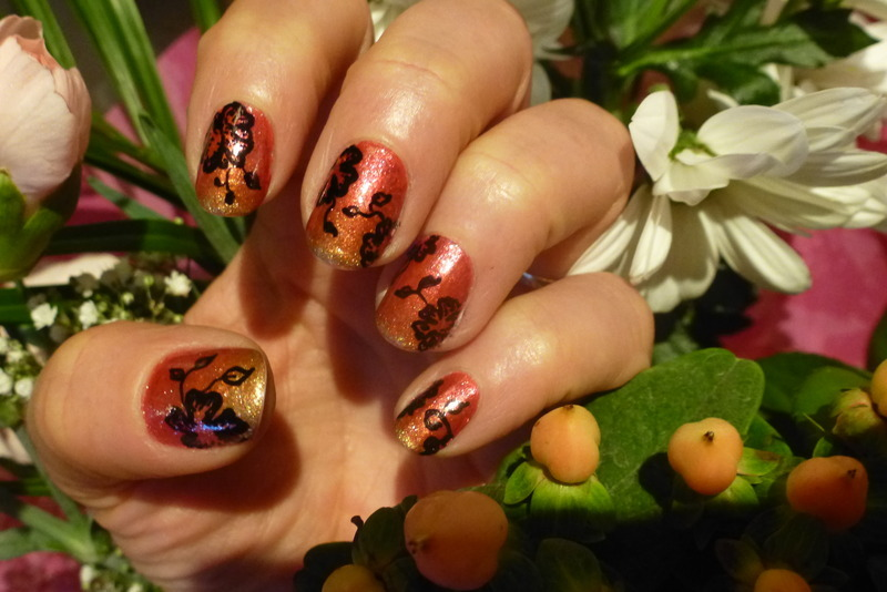 Sunset Gold nail art by Barbouilleuse