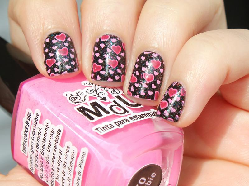 Pink Hearts nail art by Moriesnailart