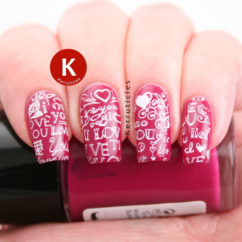"""Pink """"I Love You"""" nails nail art by Claire Kerr"""