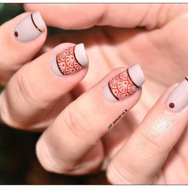 Rouge&Beige nail art by Les ongles de B.