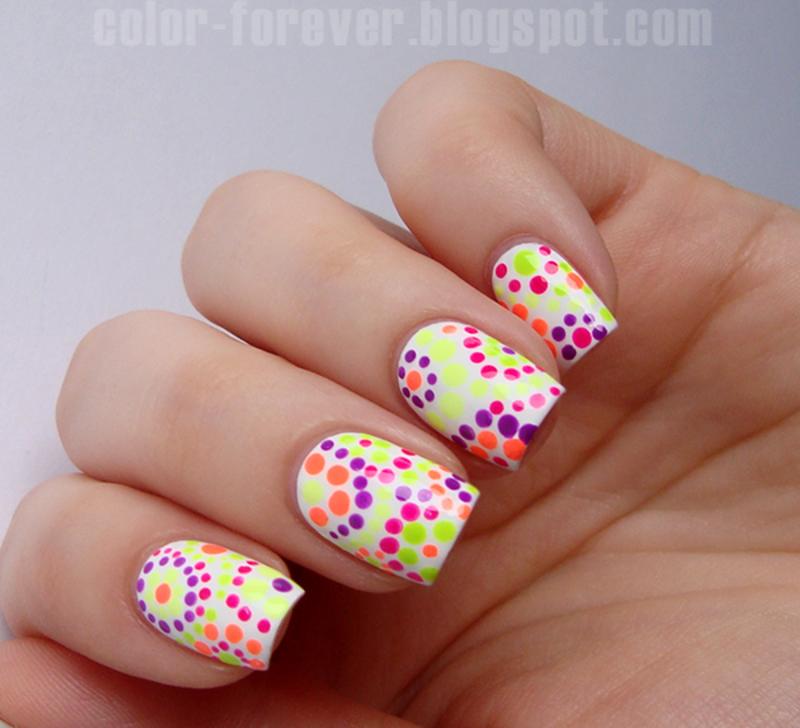 neon dotticure nail art by ania