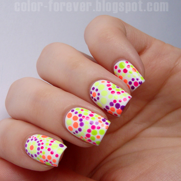 neon dotticure nail art by ania
