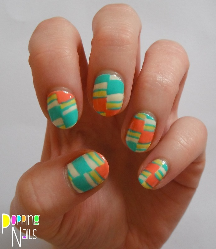 Colour blocks nail art by Charlie - Popping Nails