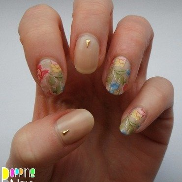 Peonies nail art by Charlie - Popping Nails