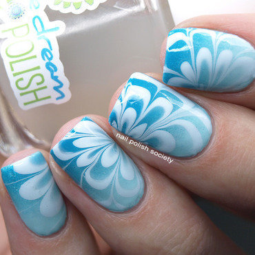 Aqua Gradient Water Marble nail art by Emiline Harris