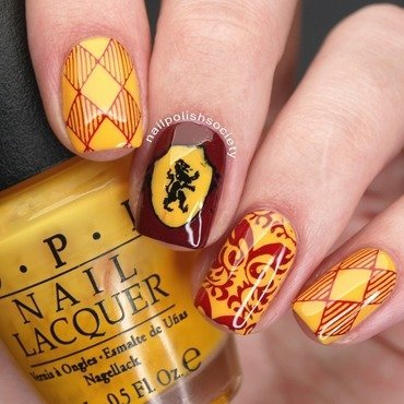 Harry Potter Gryffindor Nails nail art by Emiline Harris