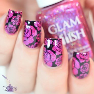 Valentine's roses nail art by polishedperspective