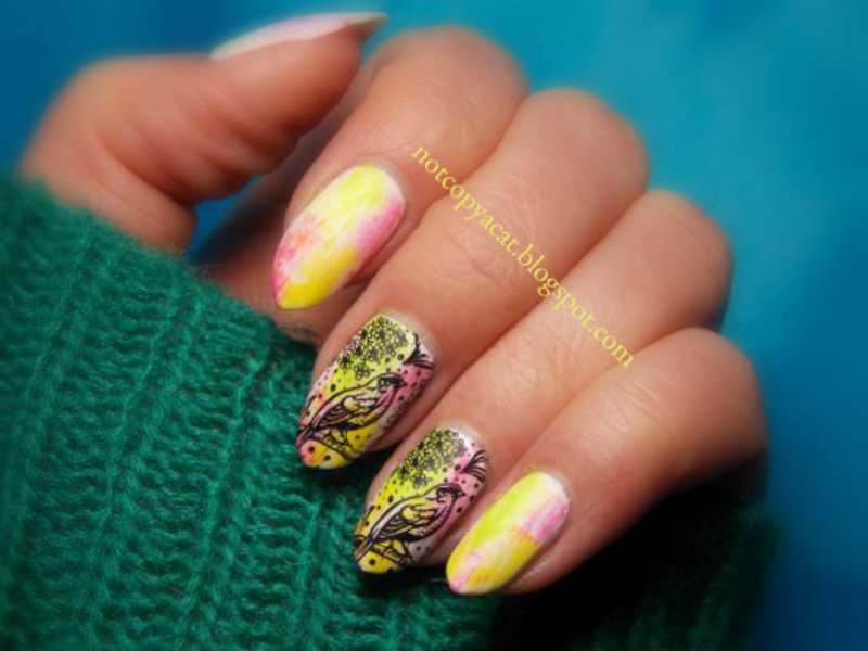 Carefree birds nail art by notcopyacat