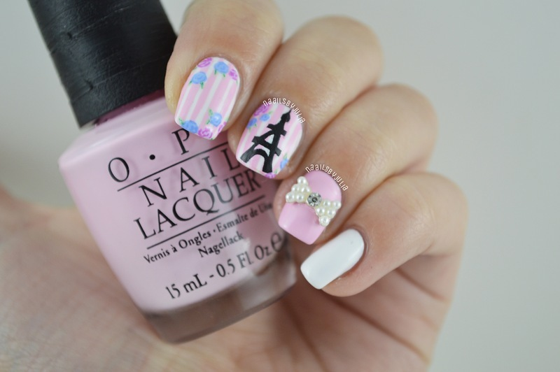 Eiffeltower and flowers nail art by Julia
