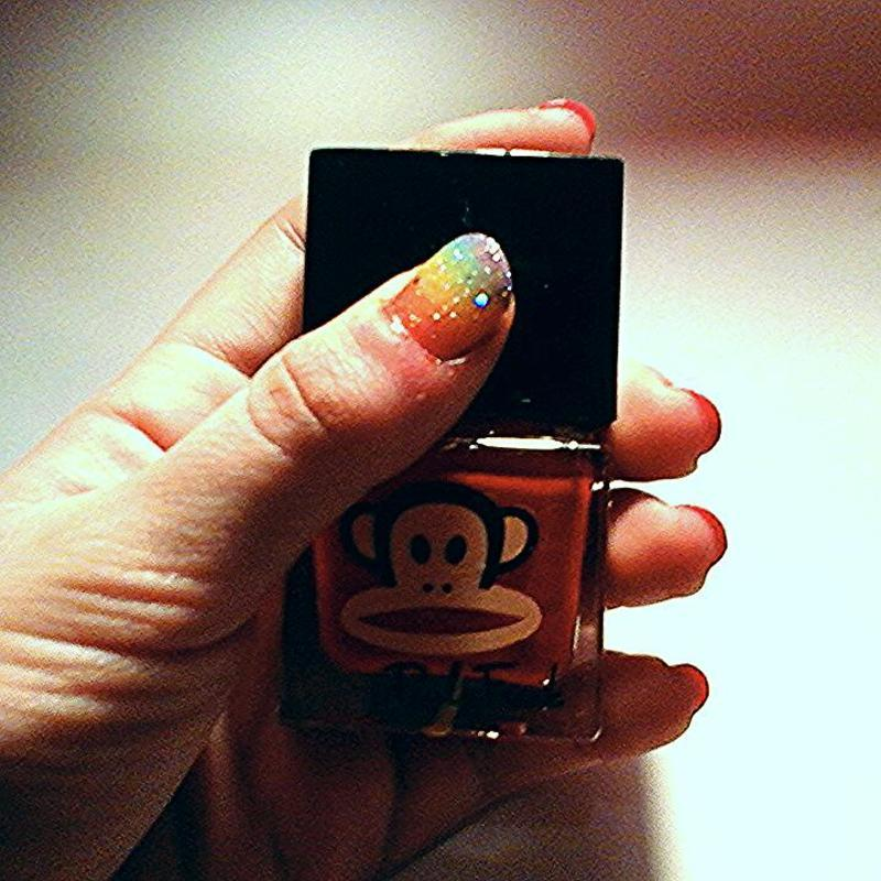 sparkly rainbow design  nail art by myla murray